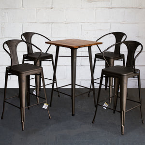 5PC Lodi Table & Favara Bar Stool Set - Gun Metal Grey
