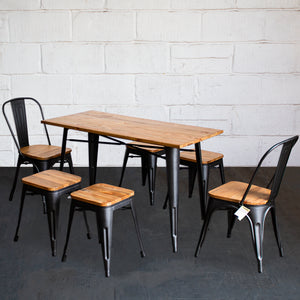 7PC Prato Table, 2 Palermo Chairs & 4 Rho Stools Set - Onyx Matt Black