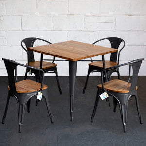 5PC Enna Table & Florence Chair Set - Graphite Grey