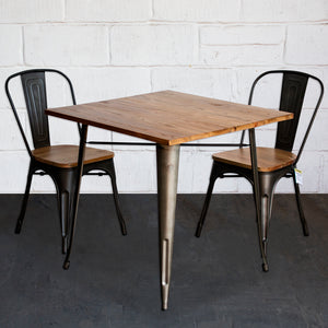 3PC Enna Table & Palermo Chair Set - Gun Metal Grey