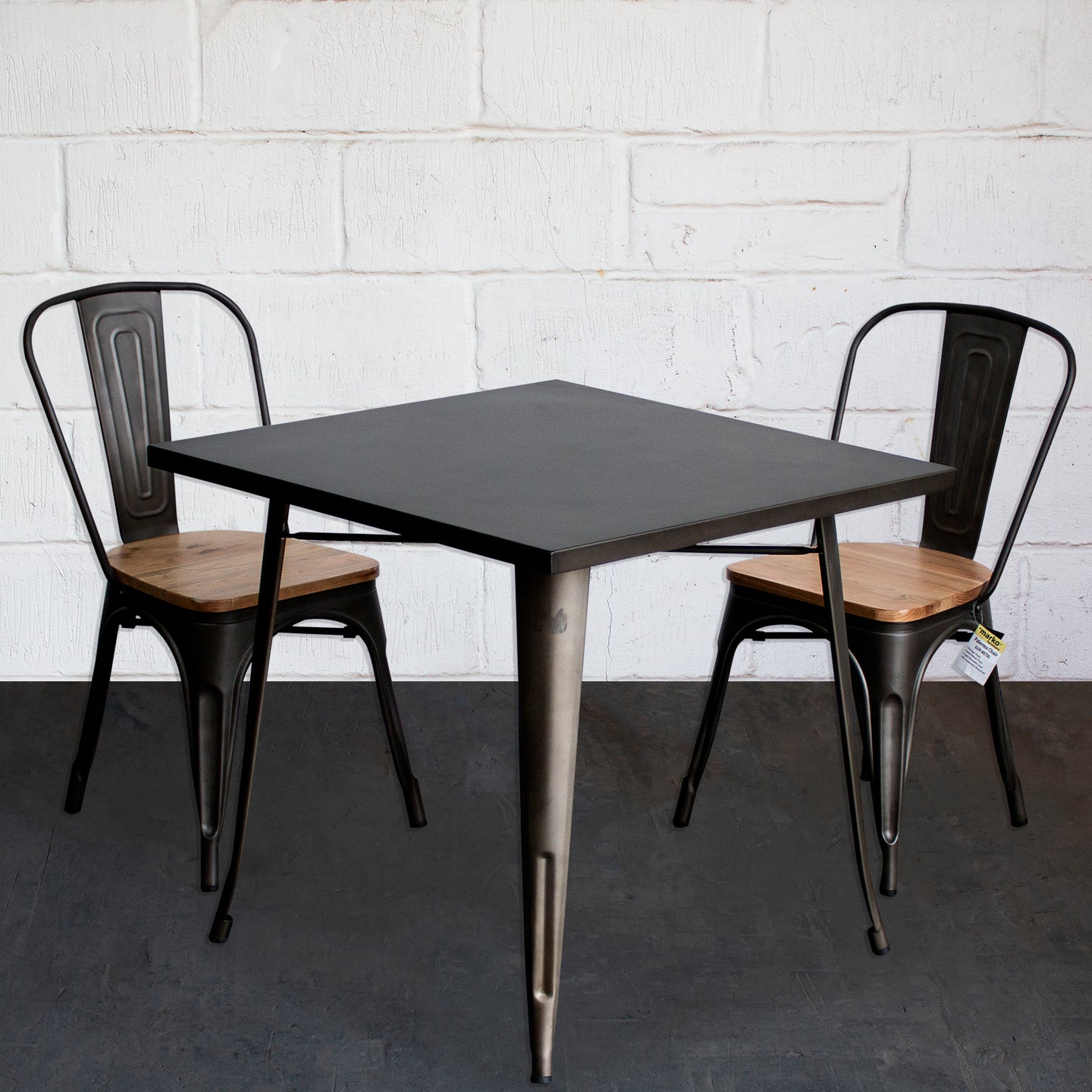 3PC Belvedere Table & Palermo Chair Set - Gun Metal Grey