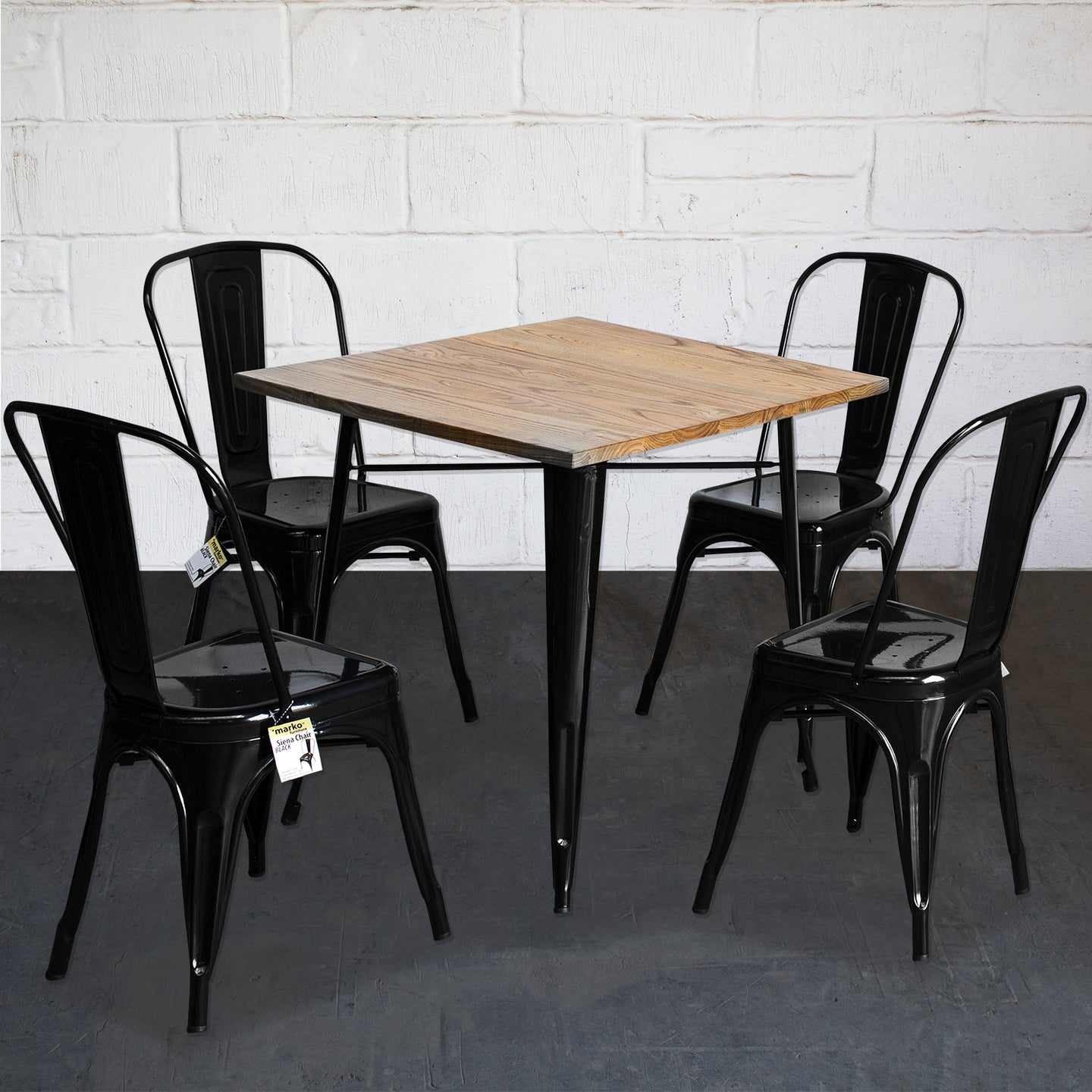 5PC Enna Table & Siena Chair Set - Black