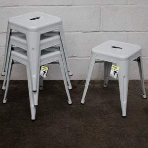 5PC Prato Table, 2 Forli Chairs & 2 Castel Stools Set - White