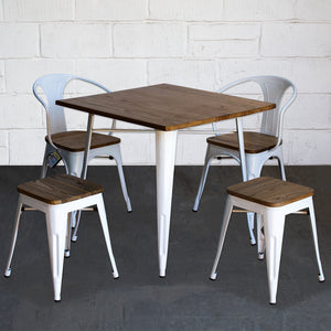 5PC Enna Table Florence Chair & Rho Stool Set - White