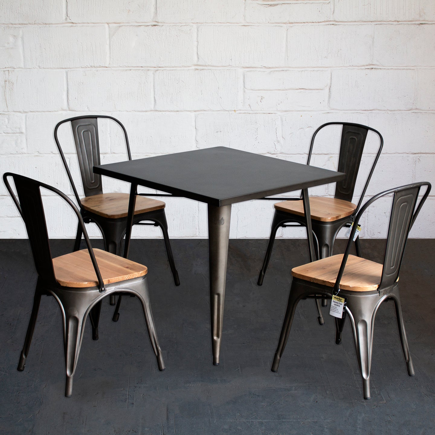 5PC Belvedere Table & Palermo Chair Set - Gun Metal Grey