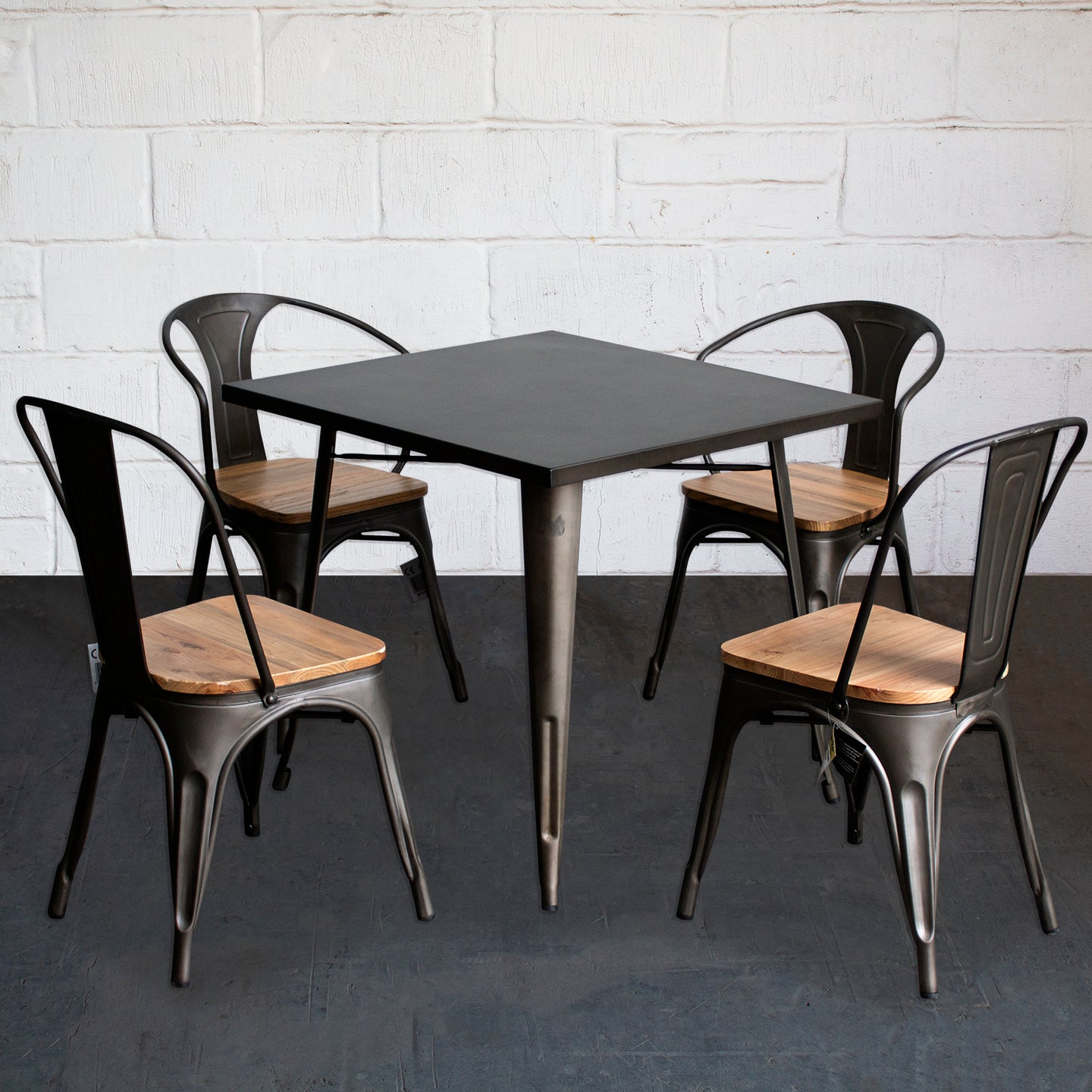 5PC Belvedere Table Florence & Palermo Chairs Set - Gun Metal Grey