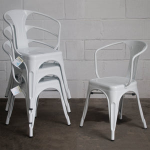 7PC Taranto Table, 3 Forli Chairs & 3 Castel Stools Set - White