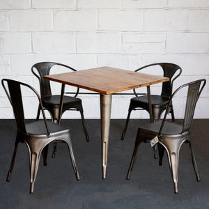 5PC Enna Table Forli & Siena Chairs Set - Gun Metal Grey