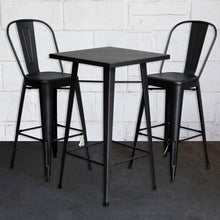 3PC Laus Table & Pascale Bar Stool Set - Onyx Matt Black