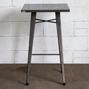 5PC Laus Table & Favara Bar Stool Set - Steel
