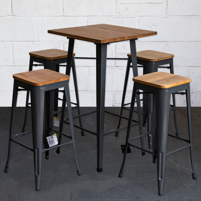 5PC Lodi Table & Firenze Bar Stool Set - Graphite Grey