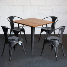 5PC Enna Table & Forli Chair Set - Graphite Grey