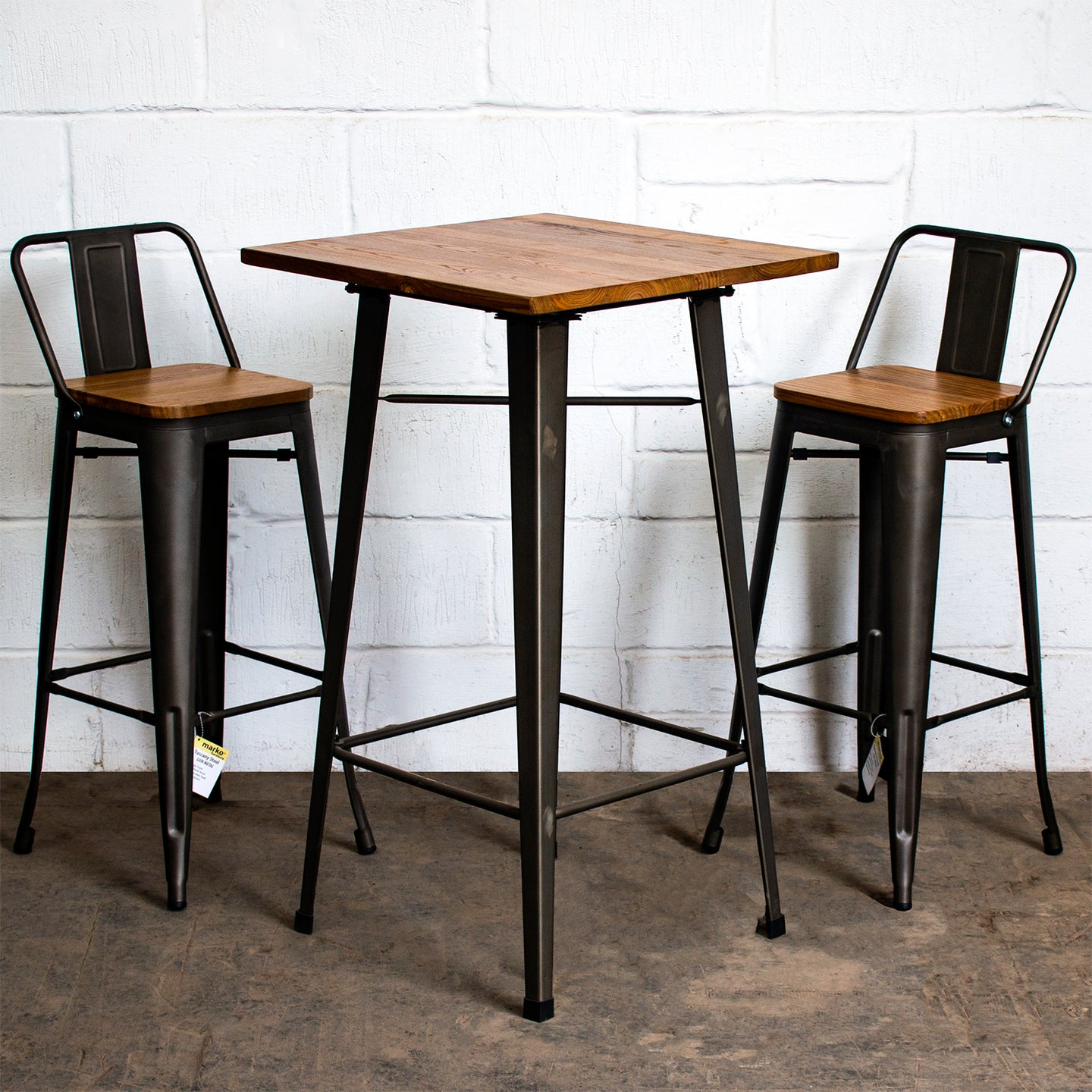 3PC Lodi Table & Tuscany Bar Stool Set - Gun Metal Grey