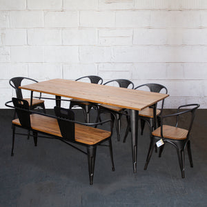 7PC Taranto Table, 5 Florence Chairs & Nuoro Bench Set - Onyx Matt Black