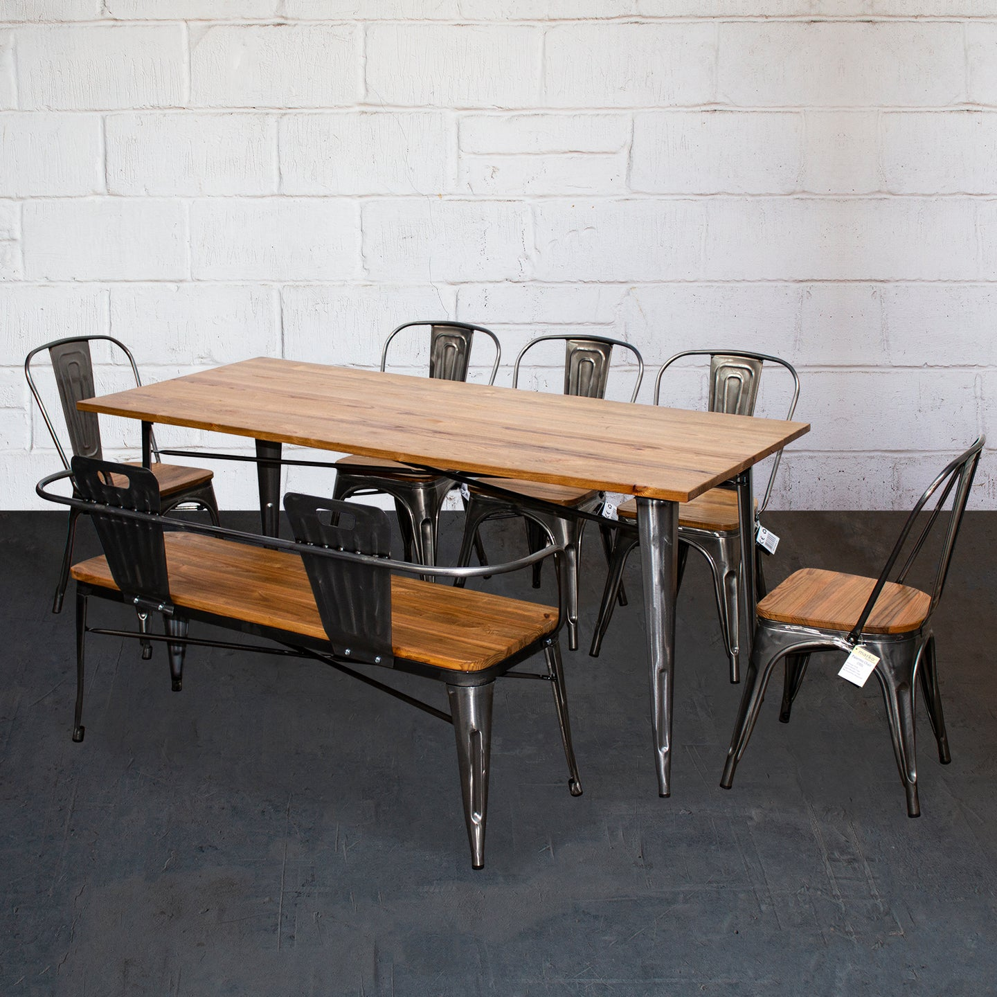 7PC Taranto Table, 5 Palermo Chairs & Nuoro Bench Set - Steel