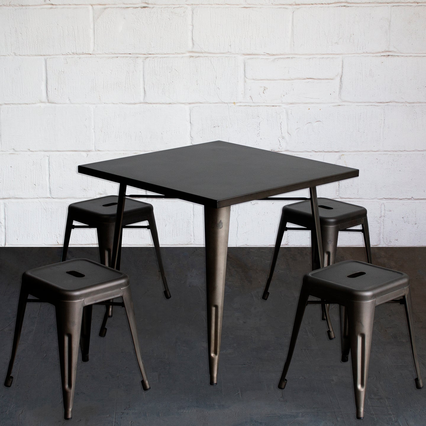 5PC Belvedere Table & Castel Stool Set - Gun Metal Grey