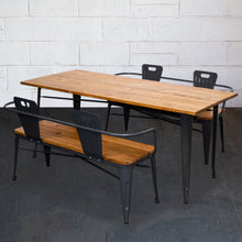 3PC Taranto Table & 2 Nuoro Benches Set - Graphite Grey