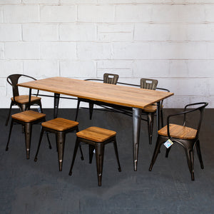 7PC Taranto Table, 2 Florence Chairs, 3 Rho Stools & Nuoro Bench Set - Gun Metal Grey