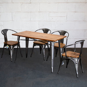 5PC Prato Table & 4 Florence Chairs Set - Steel