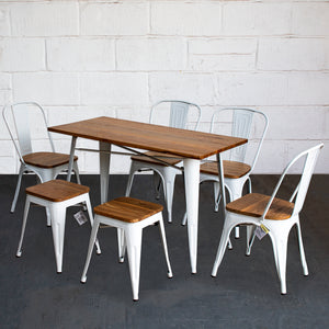 7PC Prato Table, 4 Palermo Chairs & 2 Rho Stools Set - White