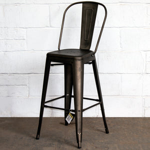 3PC Lodi Table & Pascale Bar Stool Set - Gun Metal Grey