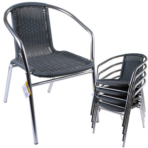 Grey Wicker Chrome Bistro Chair
