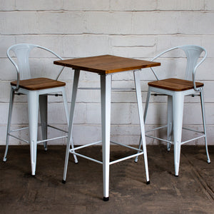 3PC Lodi Table & Licata Bar Stool Set - White