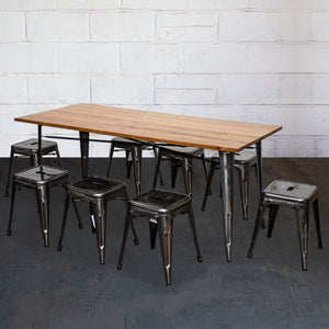 9PC Taranto Table & 8 Castel Stools Set - Steel