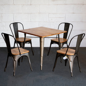 5PC Enna Table & Palermo Chair Set - Gun Metal Grey