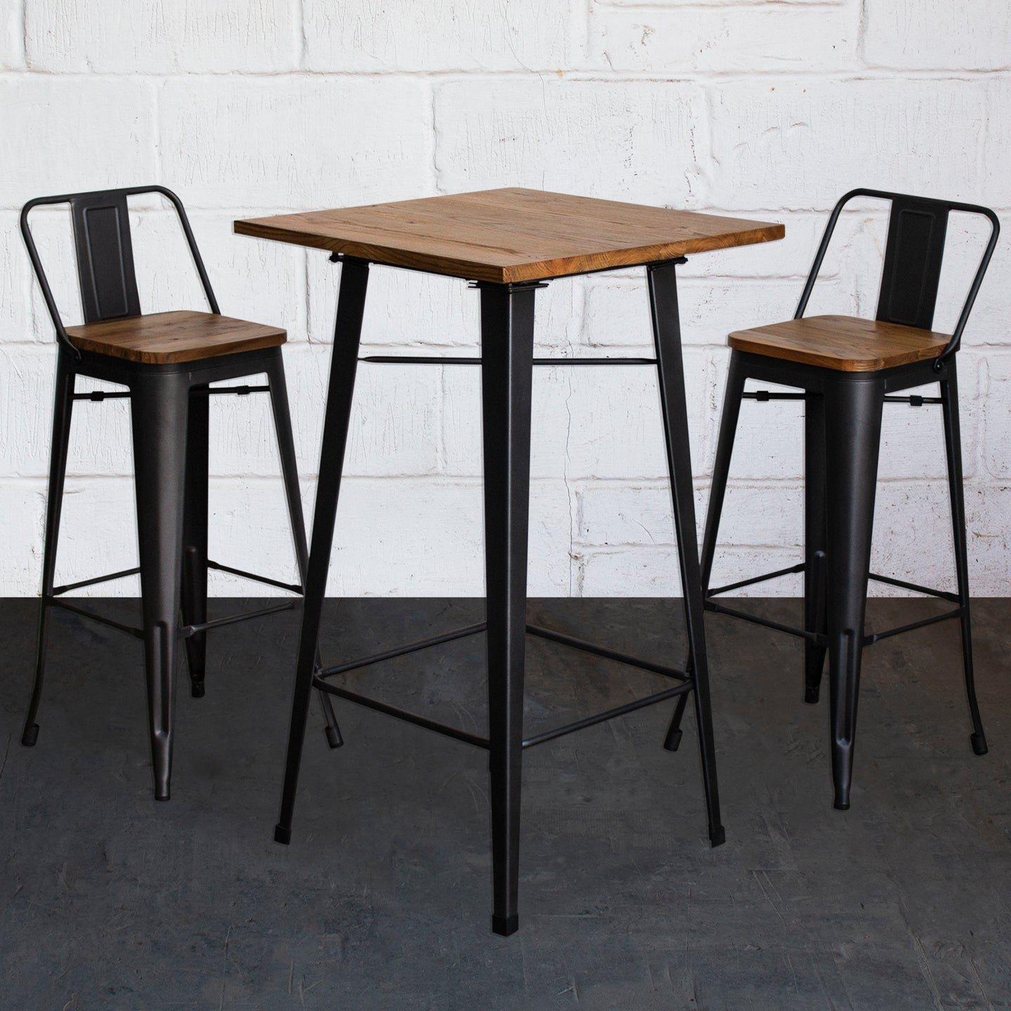 3PC Lodi Table & Tuscany Bar Stool Set - Onyx Matt Black