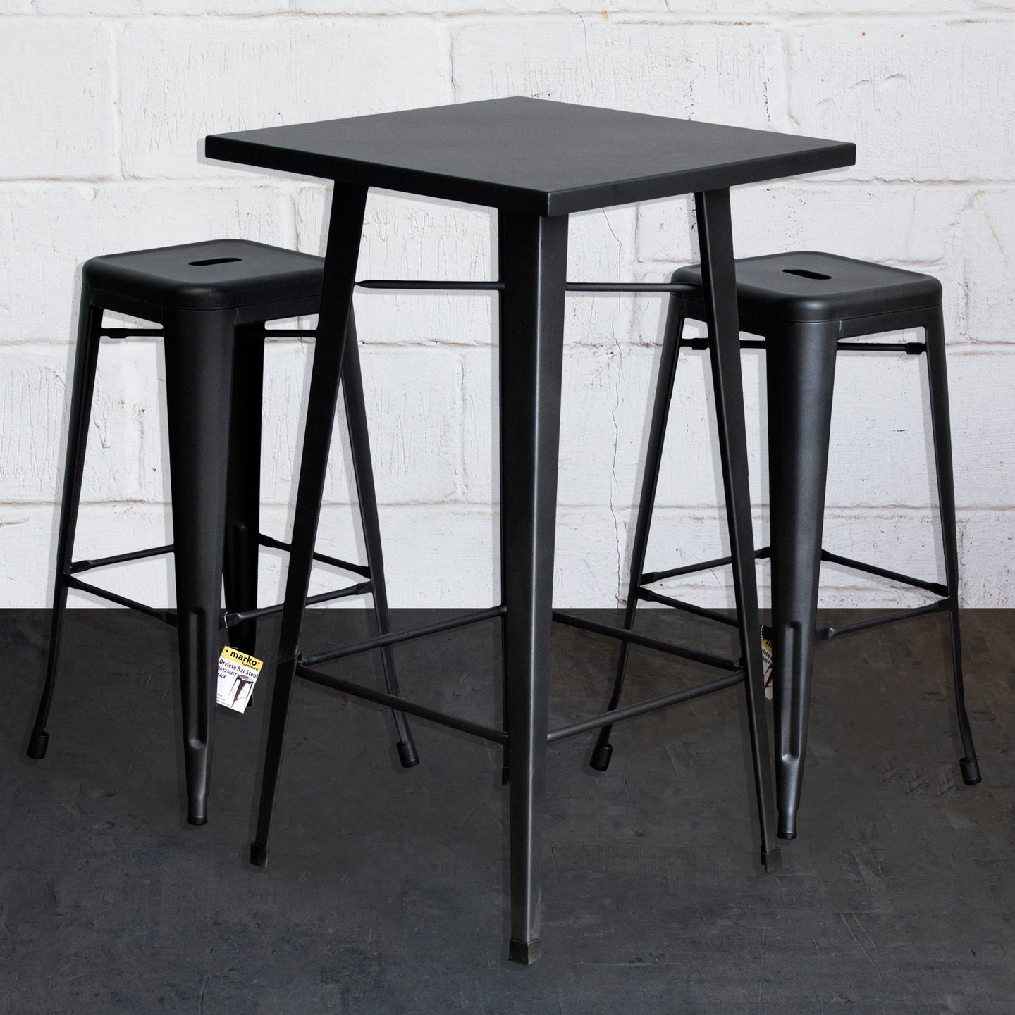 3PC Laus Table & Orvieto Bar Stool Set - Onyx Matt Black