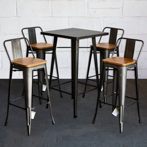 5PC Laus Table & Tuscany Bar Stool Set - Gun Metal Grey