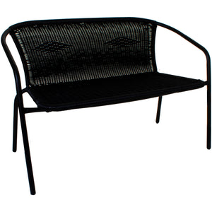 Wicker 2 Seater Bench - Black