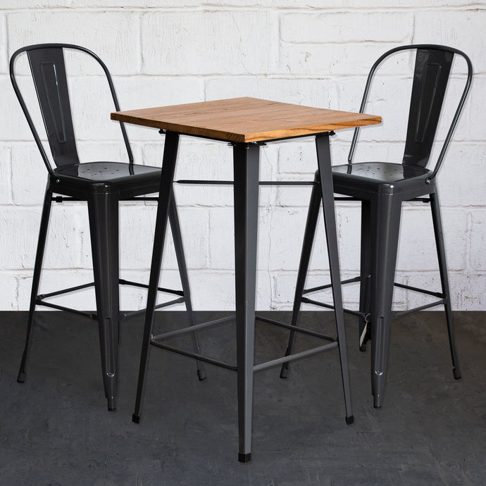 3PC Lodi Table & Pascale Bar Stool Set - Graphite Grey