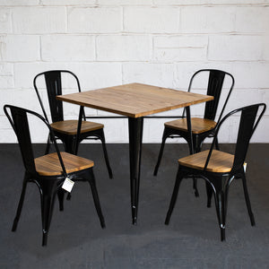 5PC Enna Table & Palermo Chair Set - Black