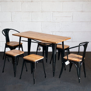 7PC Prato Table, 2 Florence Chairs & 4 Rho Stools Set - Black