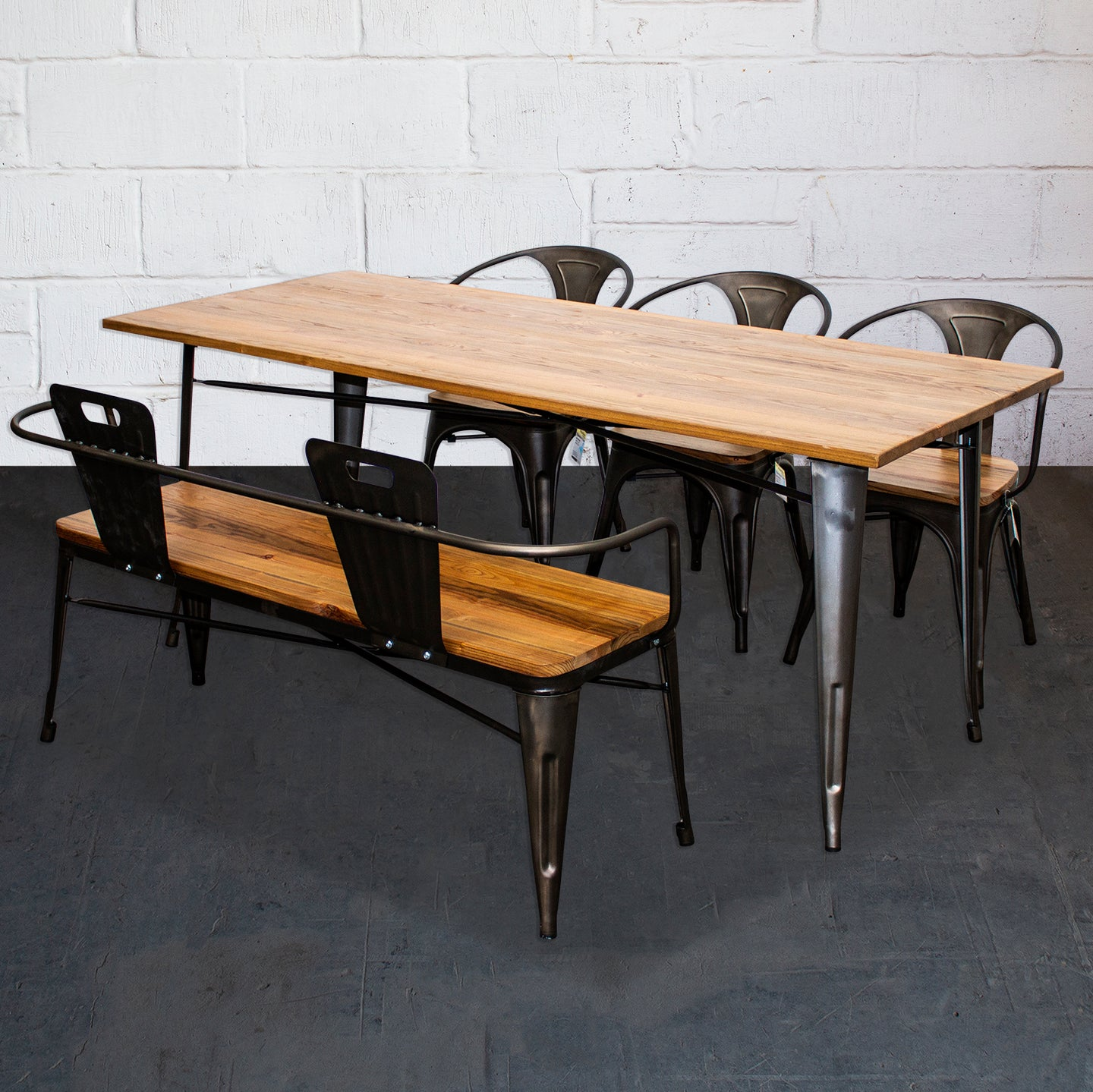 5PC Taranto Table, 3 Florence Chairs & Nuoro Bench Set - Gun Metal Grey