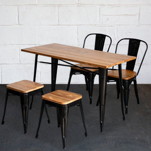 5PC Prato Table, 2 Palermo Chairs & 2 Rho Stools Set - Black