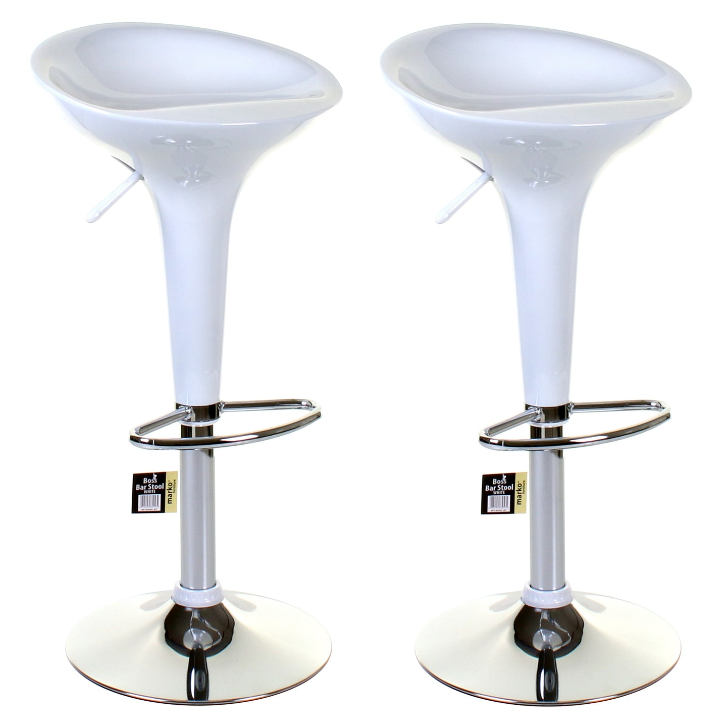 Boss Bar Stool - White - Set of 2