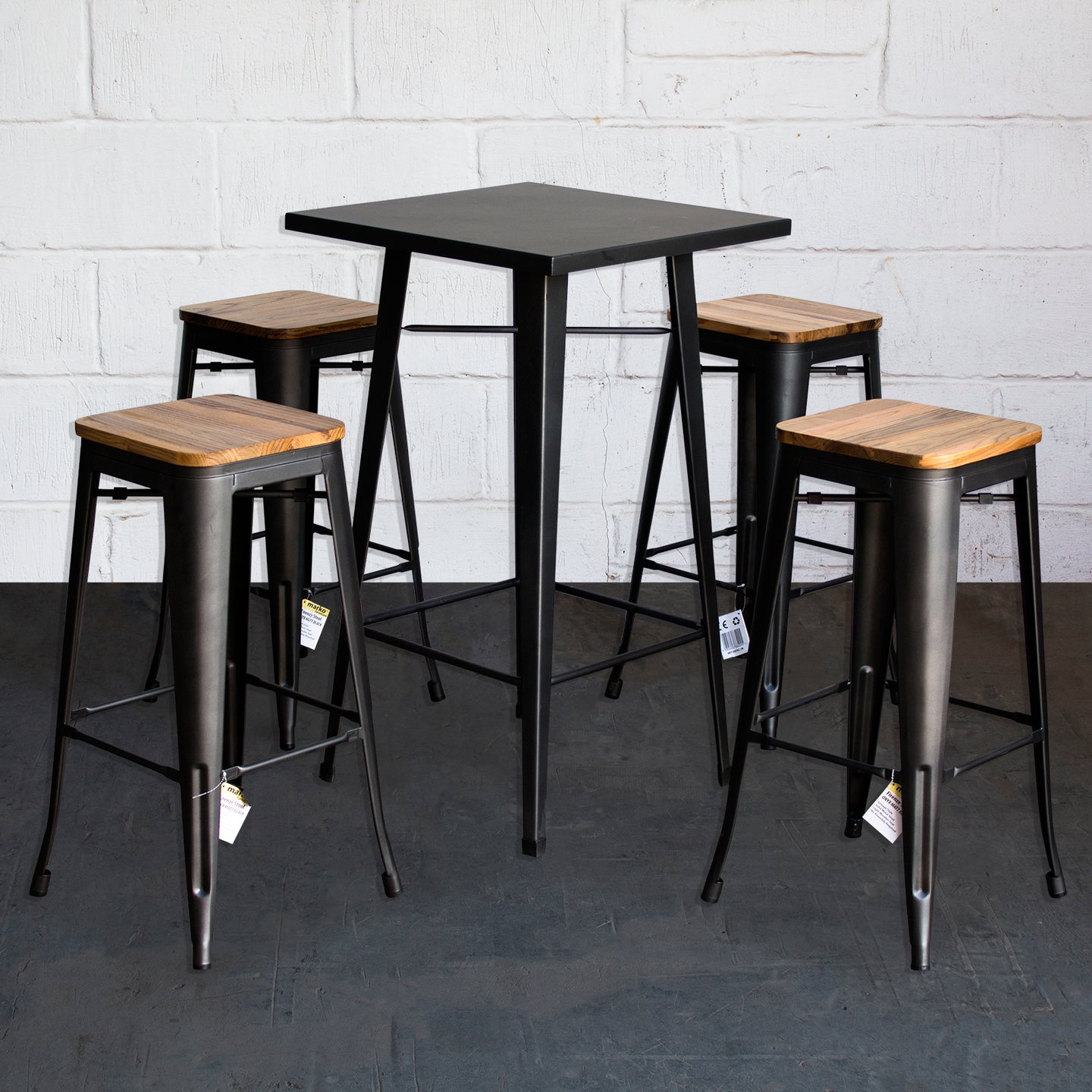 5PC Laus Table & Firenze Bar Stool Set - Onyx Matt Black