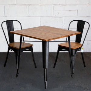 3PC Enna Table & Palermo Chair Set - Onyx Matt Black