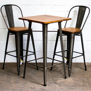 3PC Lodi Table & Soranzo Bar Stool Set - Gun Metal Grey