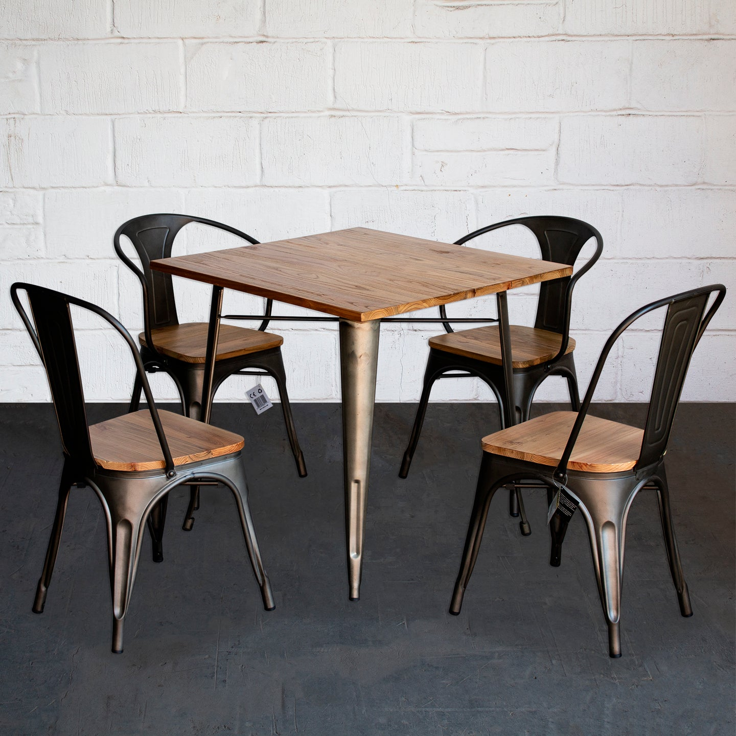 5PC Enna Table Florence & Palermo Chairs Set - Gun Metal Grey