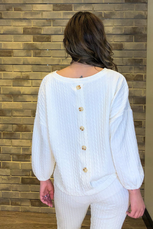 Cream Cable Knit Bubble Sleeve Crewneck Sweater with Buttons