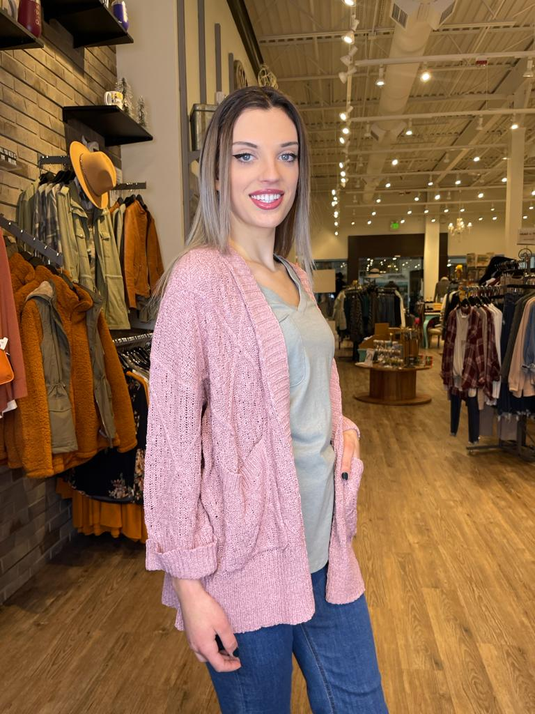 Dusty Pink Open Knit Spring Cardigan
