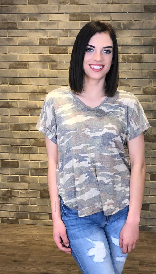 Camo Print Rolled Sleeve V Neck Tee