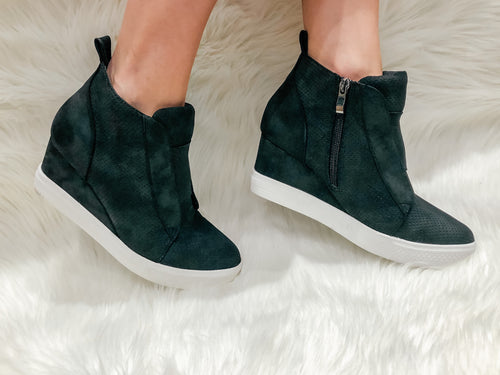 Black Suede Wedge Tennies