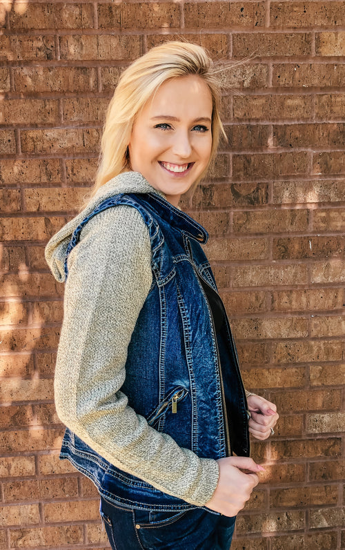 Denim and Knit Sweatshirt Jacket