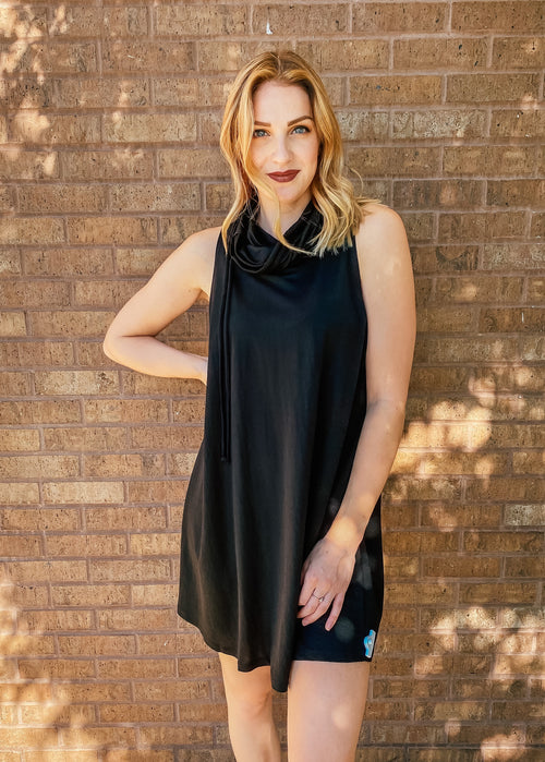 Black Cowl Neck Sleeveless Dress