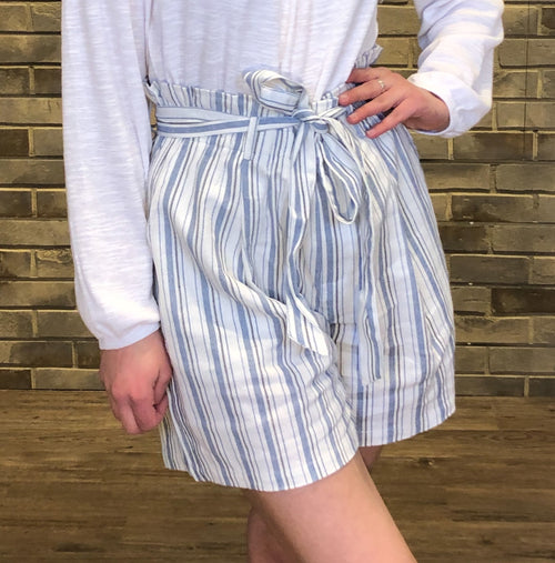 Blue Striped Paperbag Long-Style Shorts